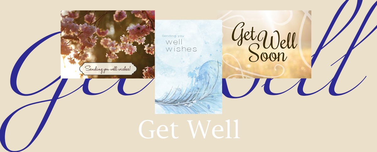 Get Well banner featuring three top-selling get well greeting cards