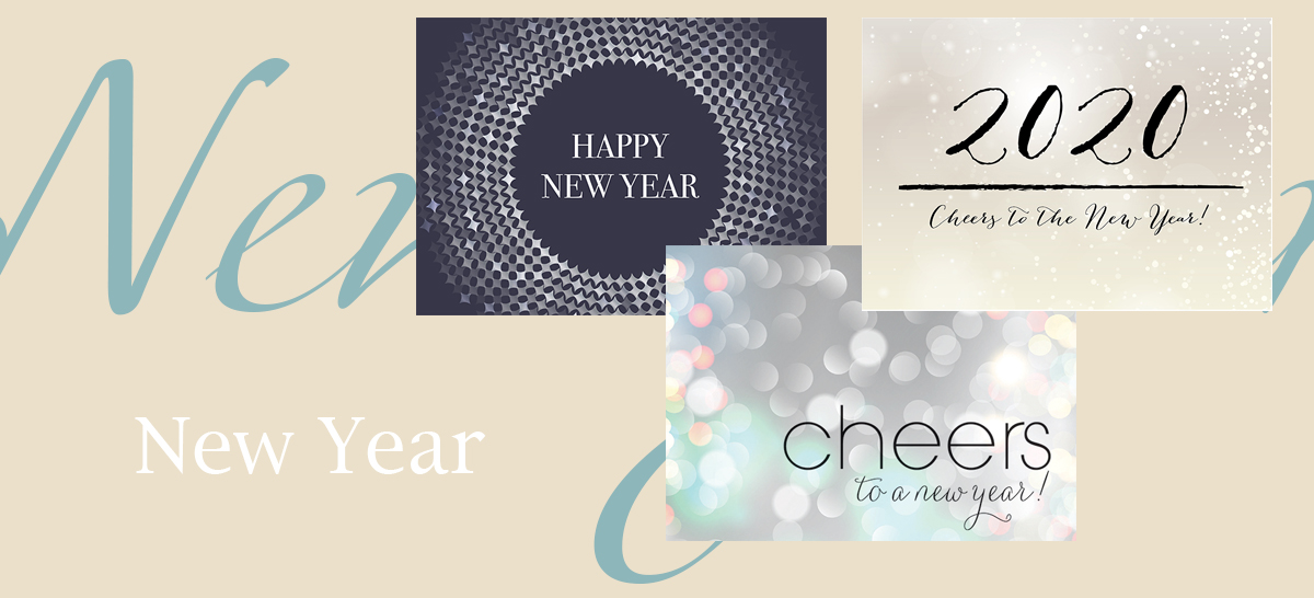 New Year banner featuring best-selling New Year cards