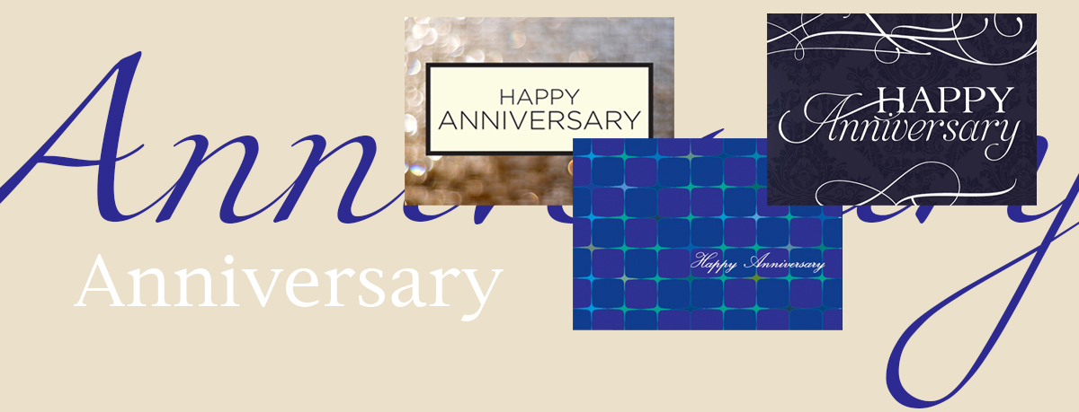 Anniversary banner featuring three best-selling Anniversary cards