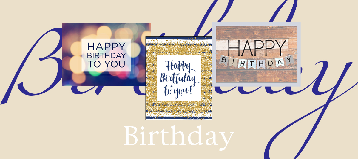 Birthday banner featuring three top-selling birthday cards