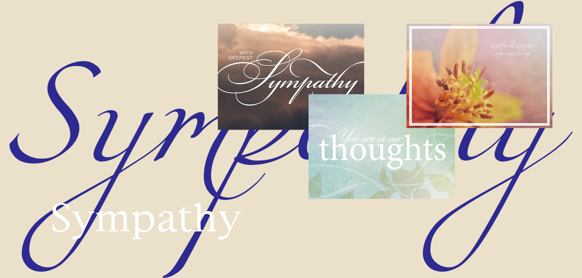 Sympathy banner featuring three top-selling sympathy cards