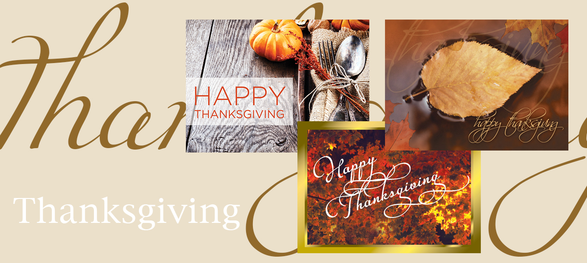 Thanksgiving banner featuring three best-selling Thanksgiving cards