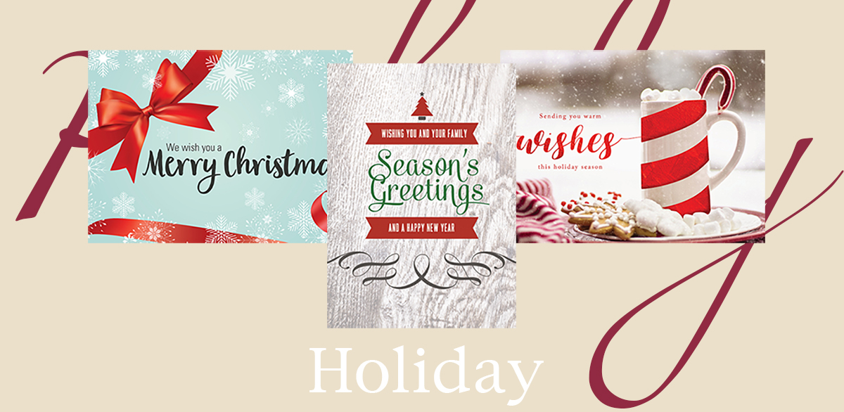 Holiday banner featuring three best-selling holiday and Christmas cards