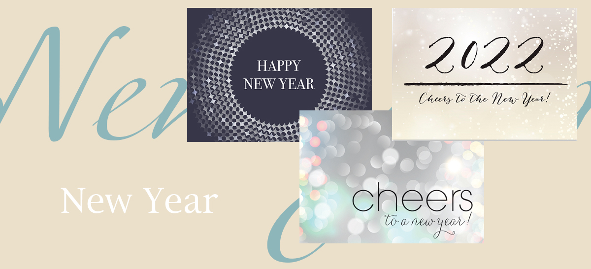 New Year banner featuring three best-selling New Year cards
