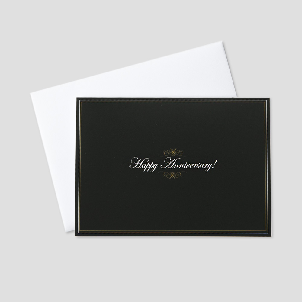 Business Anniversary greeting card featuring Happy Anniversary on a black background and golden swirl design