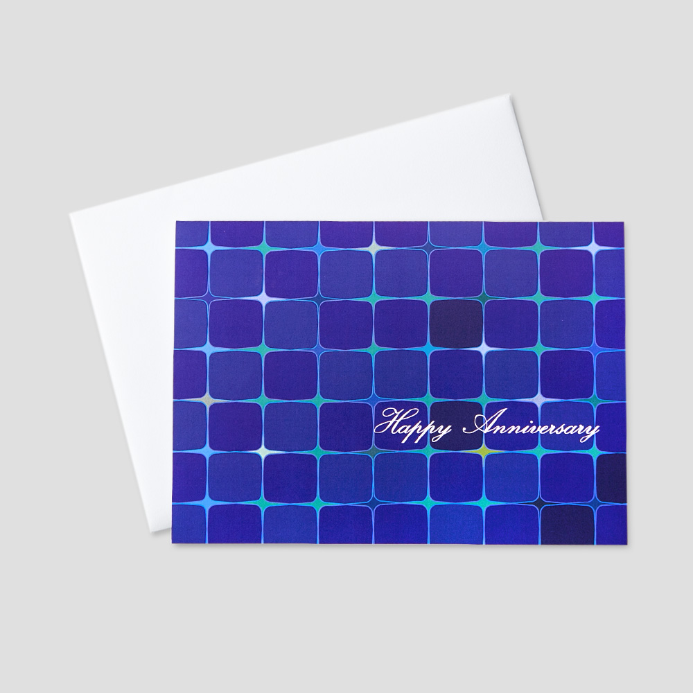Professional Anniversary greeting card featuring Happy Anniversary on a tiled blue and green design