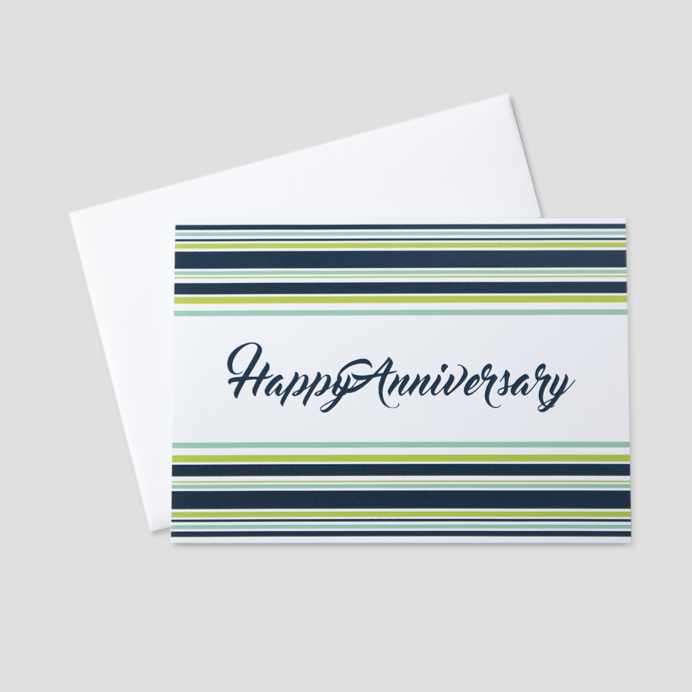 Corporate Anniversary greeting card with Happy Anniversary written in cursive font between navy blue and green horizontal stripes