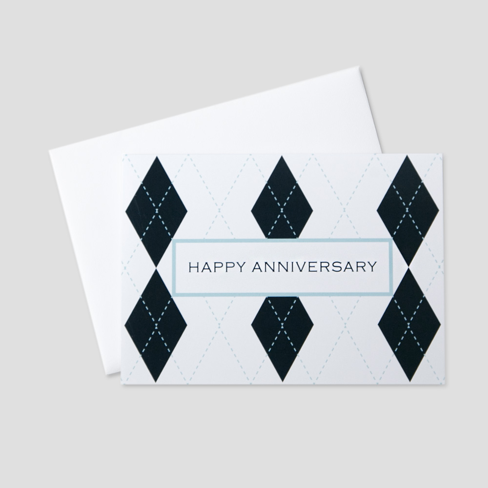 Professional Anniversary greeting card featuring Happy Anniversary in a light blue bordered box surrounded by navy blue argyle design