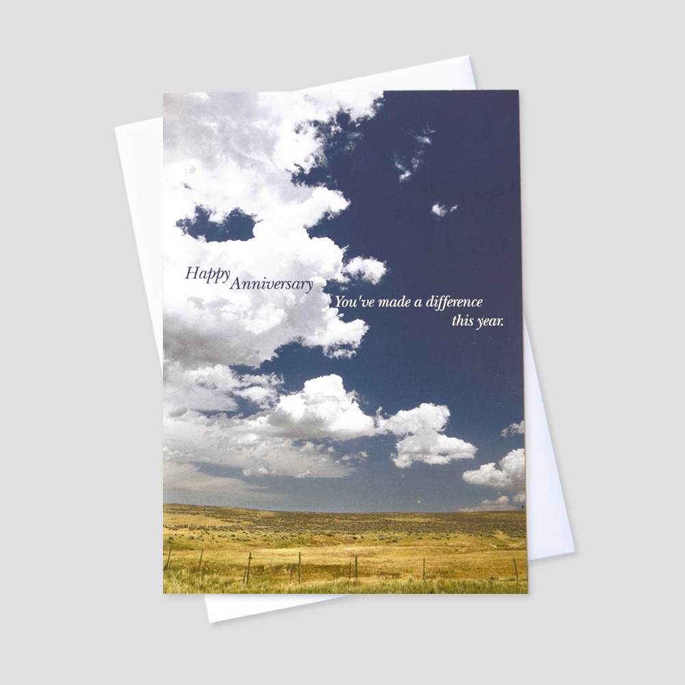 Corporate Anniversary greeting card with an inspirational anniversary quote on a scenic blue sky background