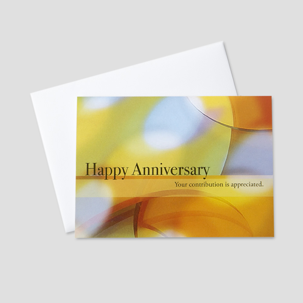 Business Anniversary greeting card with an inspirational saying amidst a colorful pastel background
