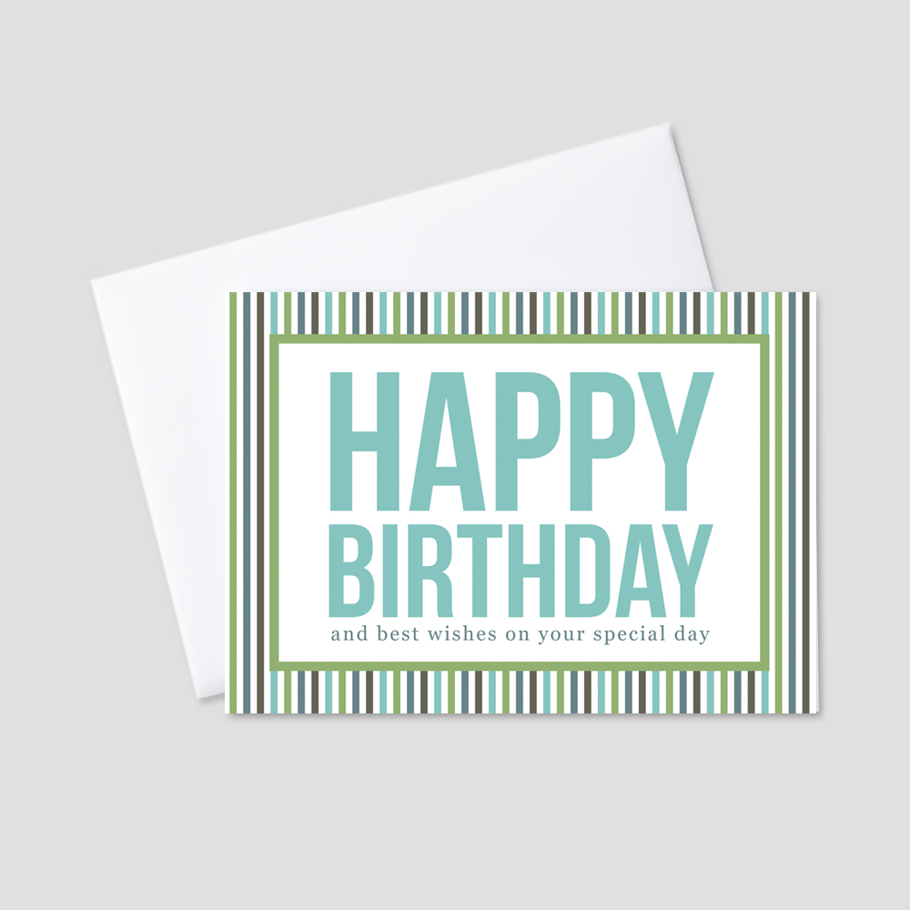 Corporate birthday greeting card featuring a happy birthday message surrounded by colorful stripes