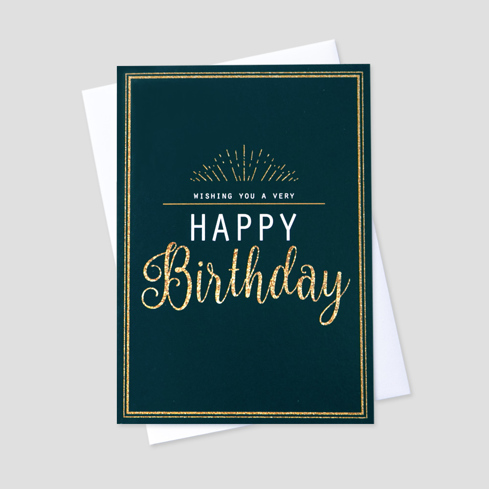 Company Birthday greeting card featuring a birthday message with a golden and navy design