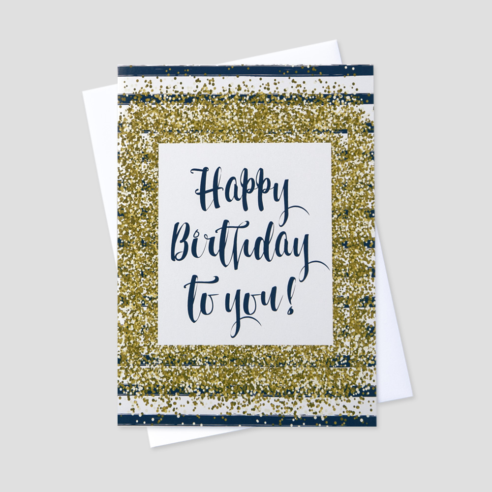 Employee Birthday greeting card featuring a birthday message with a golden confetti and navy stripe design
