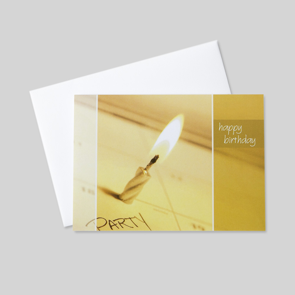 Business Birthday greeting card featuring a lit candle on a calendar as a birthday reminder