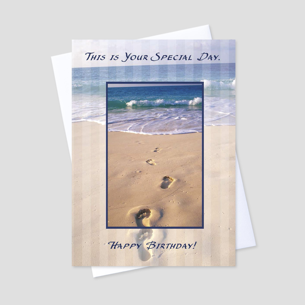 Business Birthday greeting card featuring footprints on a sunny beach day with a birthday message