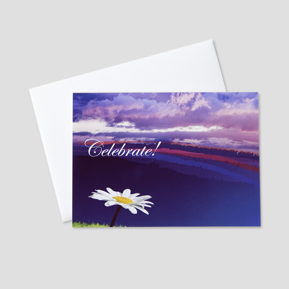 Employee Birthday greeting card with a celebrate message on a purple sky background next to an accompanying daisy flower detail