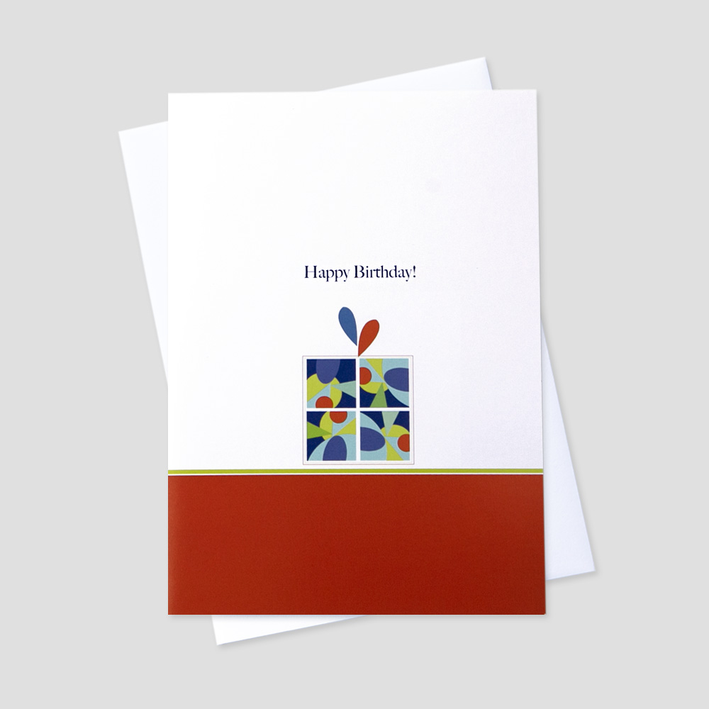 Business Birthday greeting card with a colorful present set upon a red and white background under a birthday message