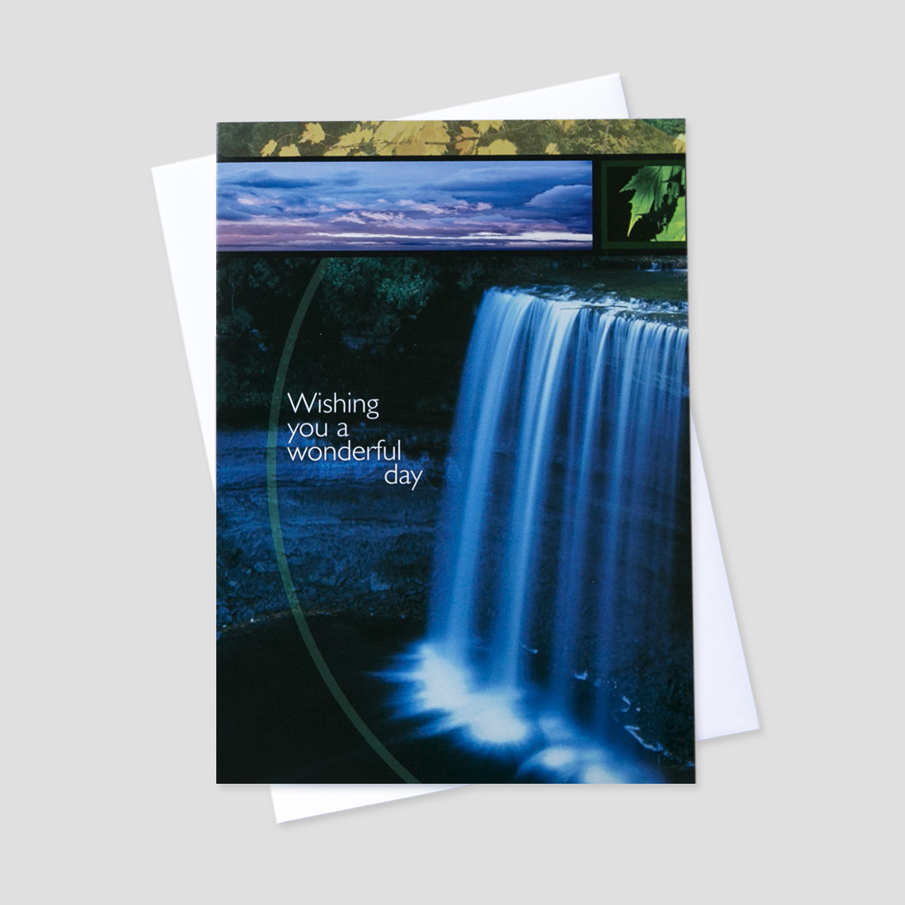 Professional Birthday greeting card featuring a scenic waterfall sending out birthday wishes for a wonderful day