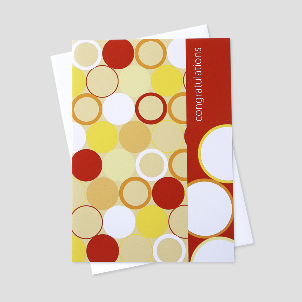Company Congratulations greeting card featuring a congratulations message on a portrait landscape with orange, yellow, cream, and white graphic circles