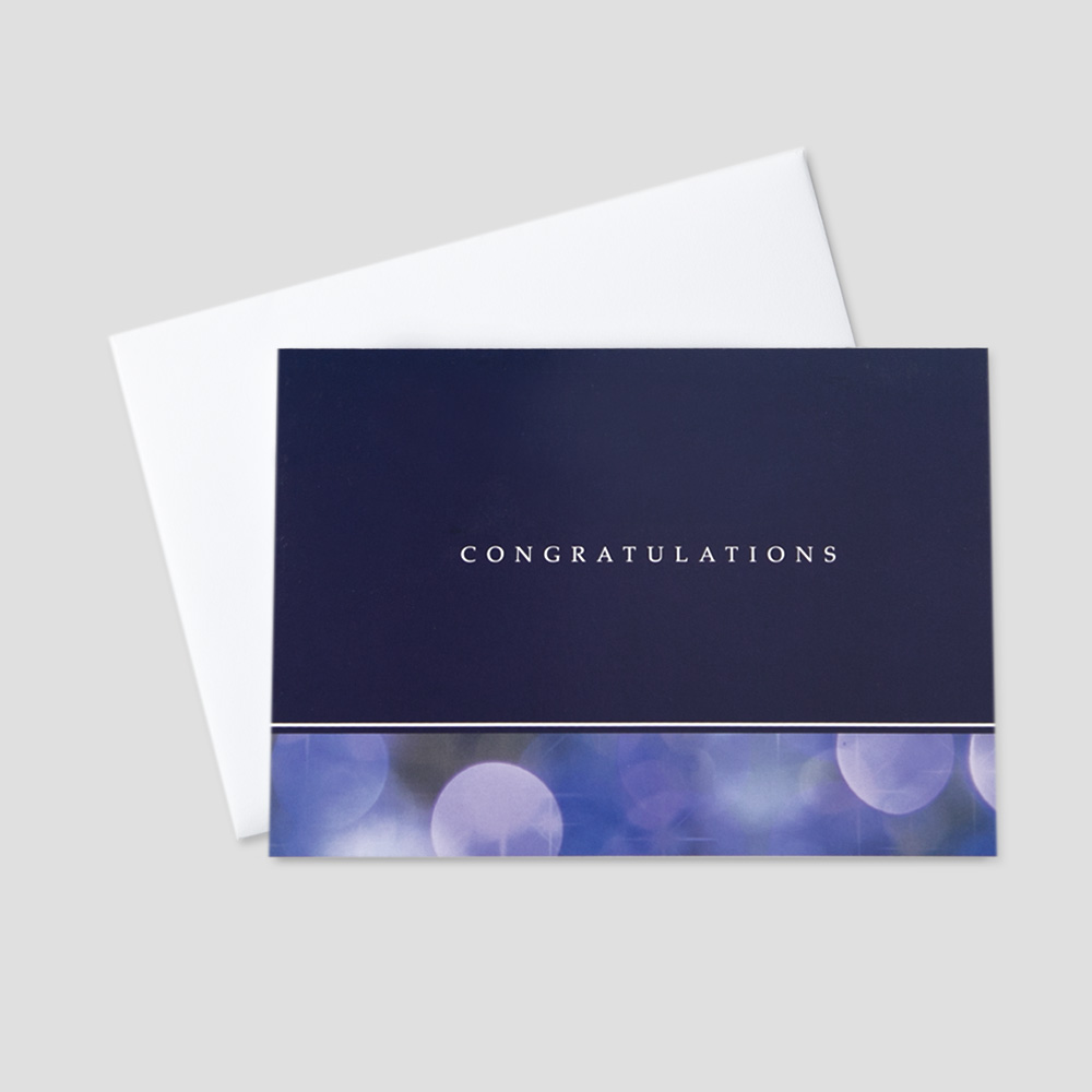 Professional Congratulations greeting card featuring congratulations on a purple background and graphic circles