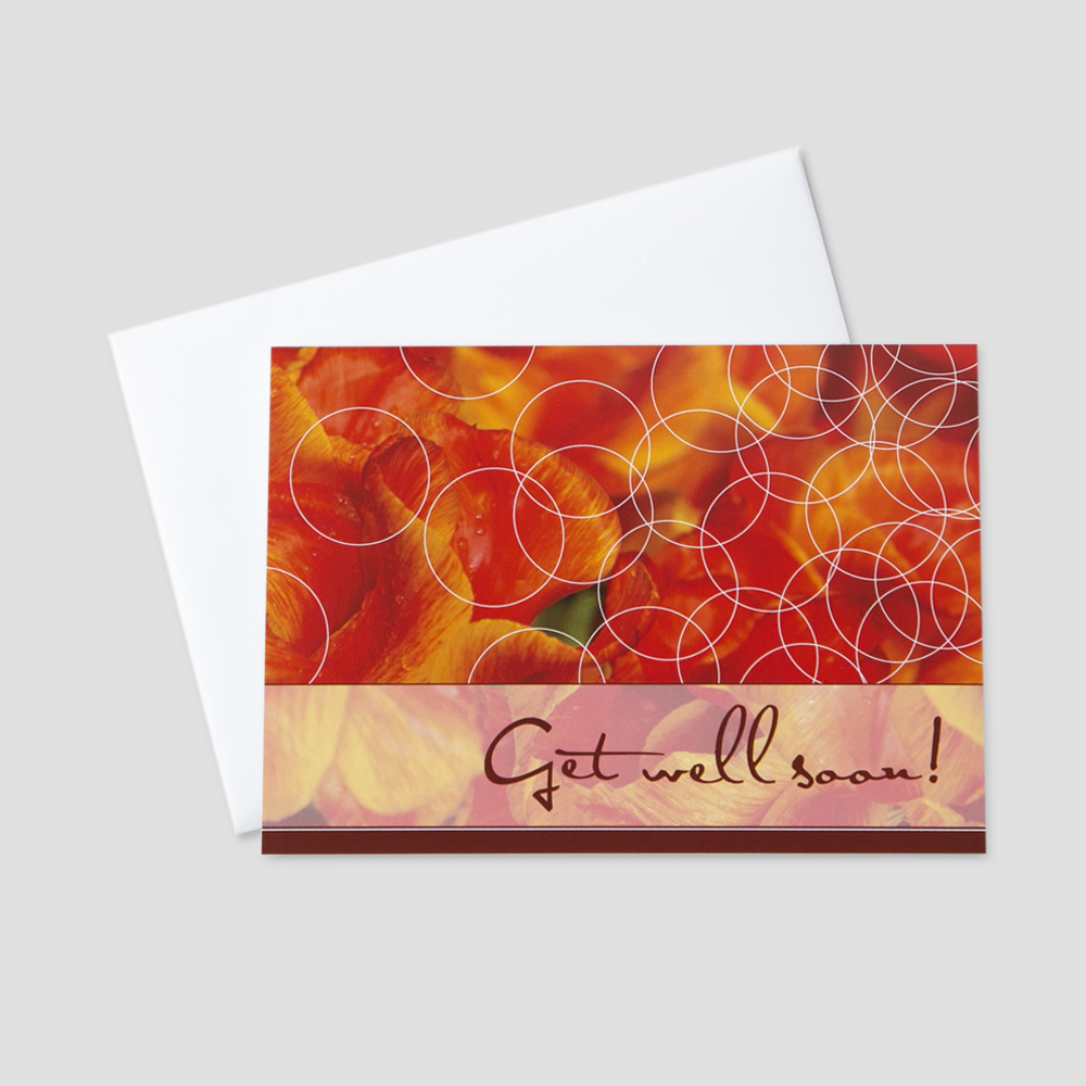 Business Get Well Soon greeting card feature orange and red floral details and a get well soon message with burgundy writing