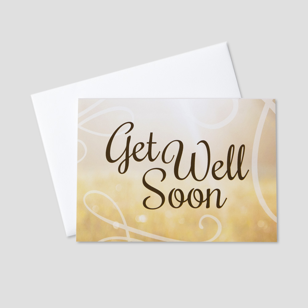 Professional Get Well greeting card featuring a get well soon message and swirl designs