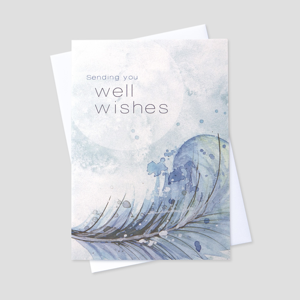 Company Get Well greeting card featuring a get well message on a light blue background with feather designs