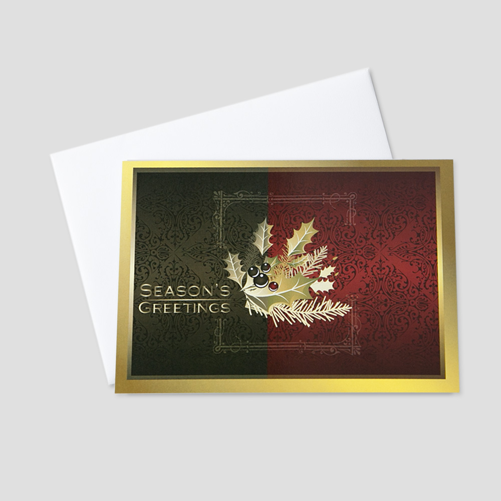 Corporate Holiday greeting card featuring a burgundy and brown background with a holly berry leaf as the focus next to the Season's Greetings message