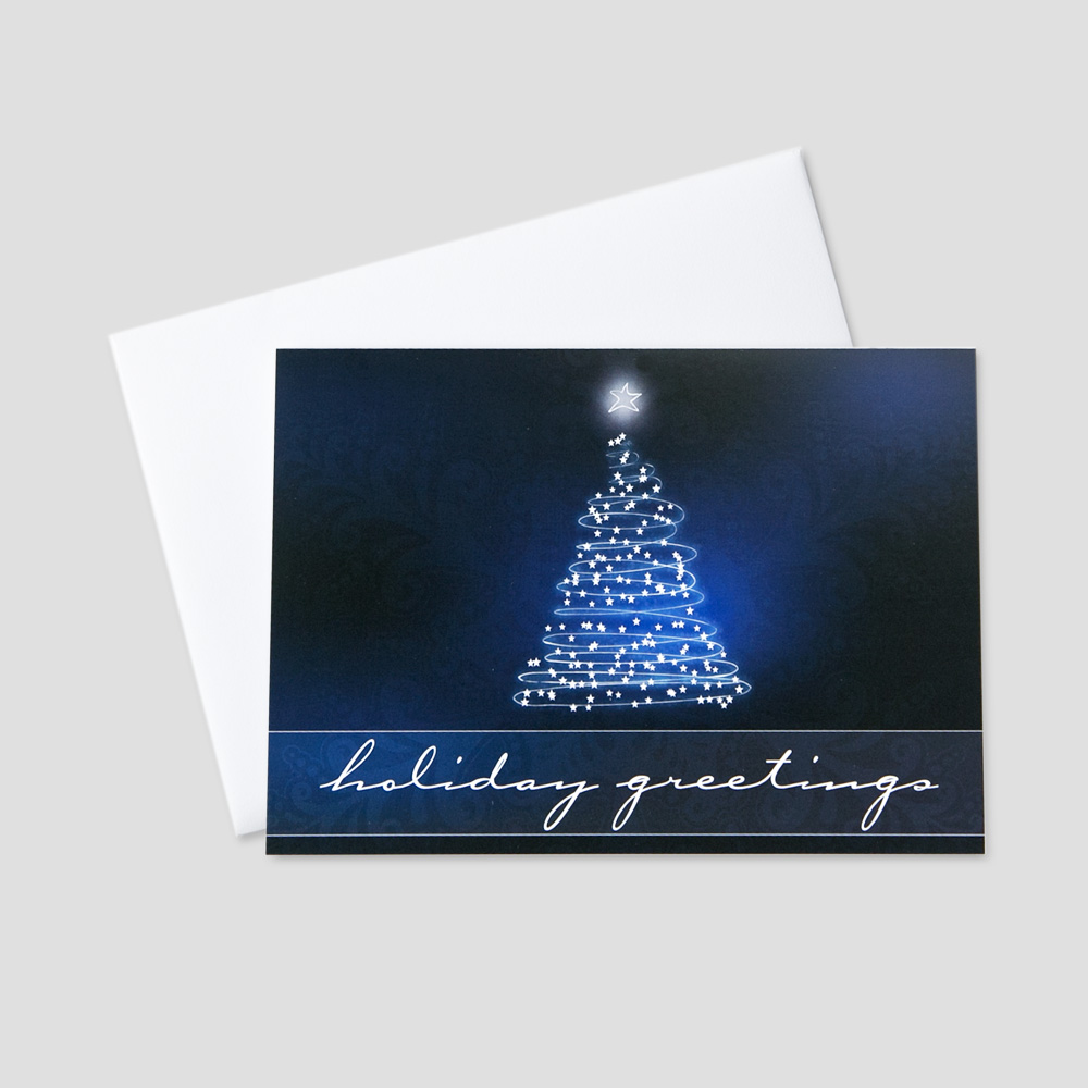 Corporate Holiday greeting card featuring a navy blue background and holiday greetings message under a beautiful white and blue graphic design fir tree