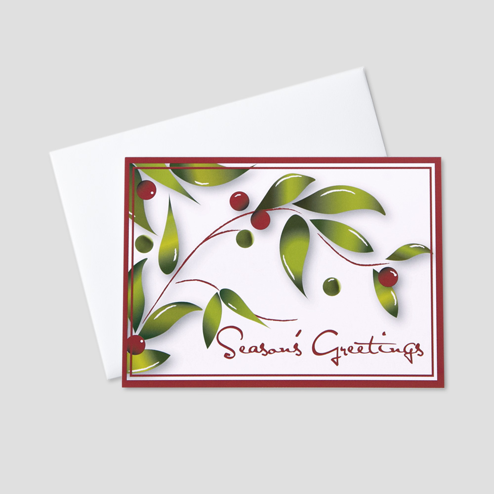 Business Holiday greeting card with holly berries and season's greetings message bordered in red