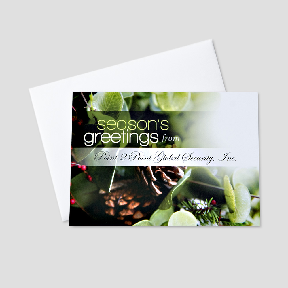 Professional Holiday greeting card with holly berries, holly leaves, and pinecones and a white horizontal space that allows for company personalization