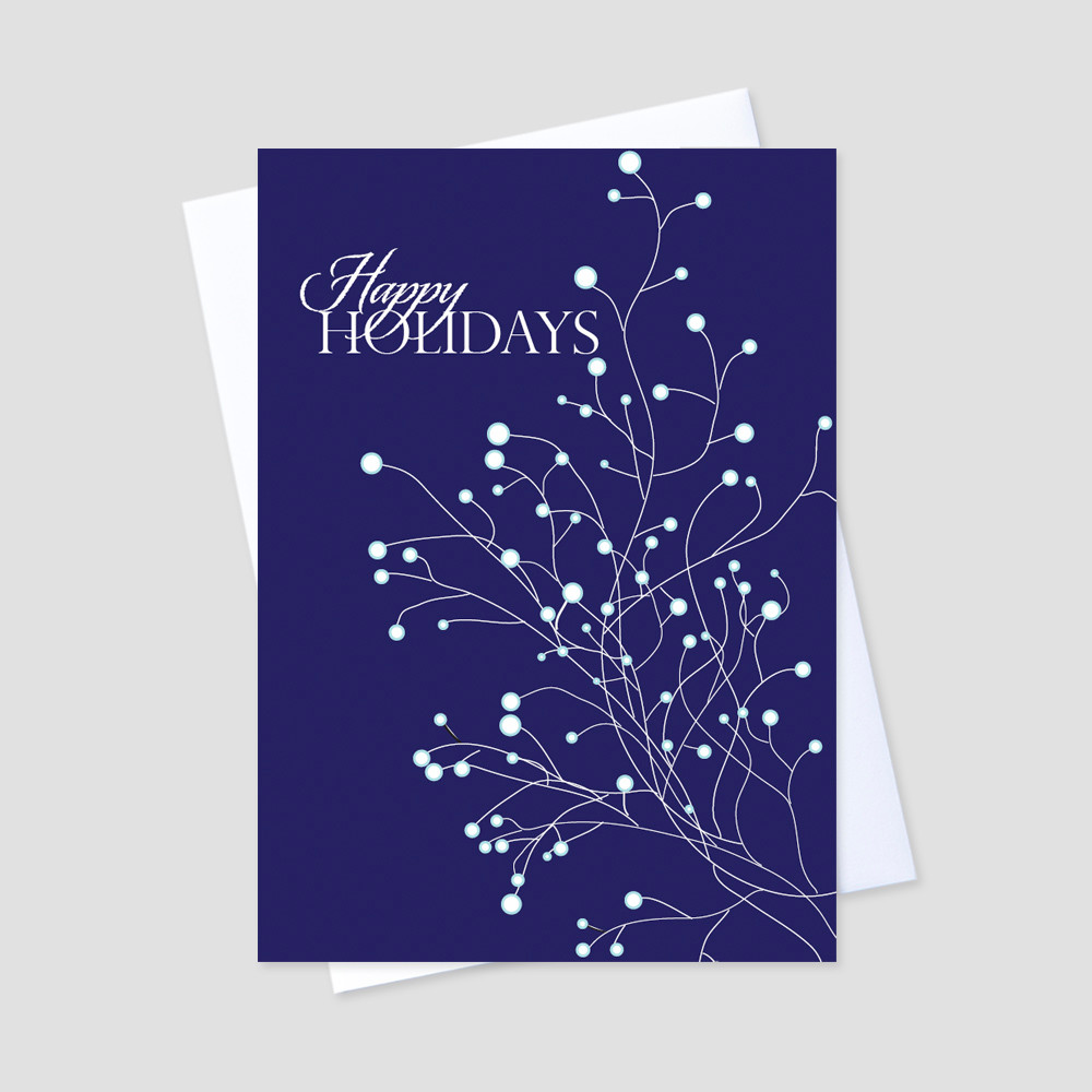 Business Holiday greeting card with an image of snowy tree branches against a navy blue background