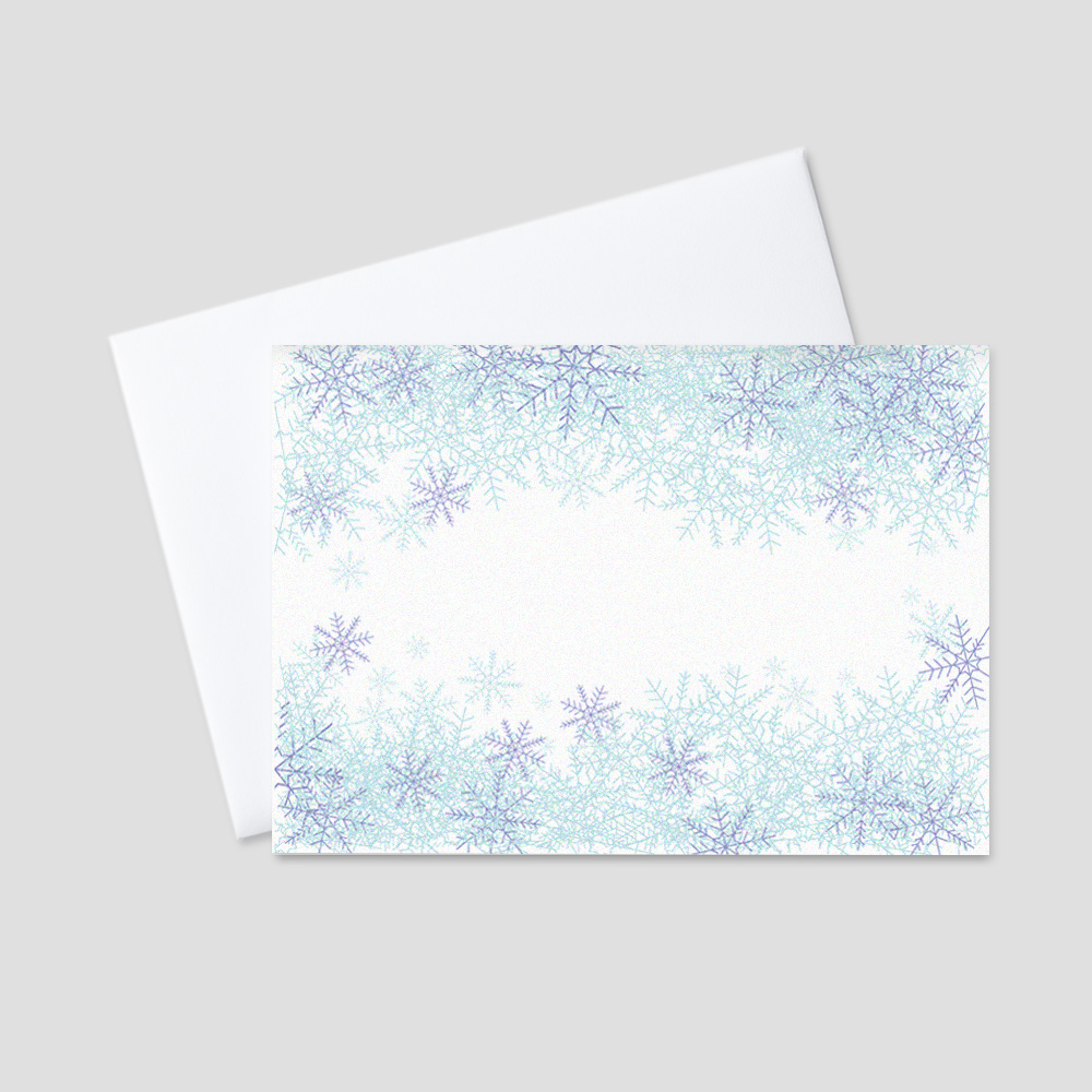 Professional Holiday greeting card with fancy blue and purple snowflakes that surround a white space to allow for company personalization