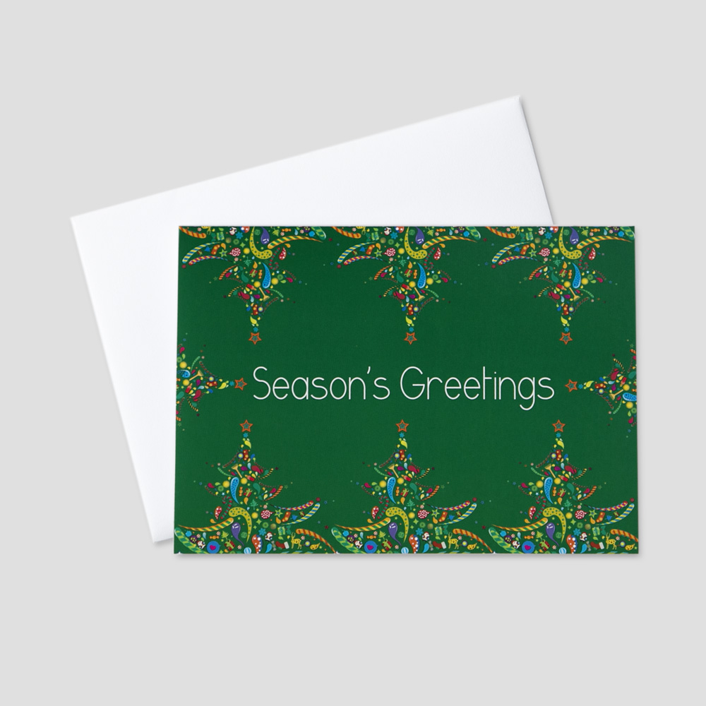 Festive Holiday greeting card with a season's greetings message surrounded by colorful holiday trees