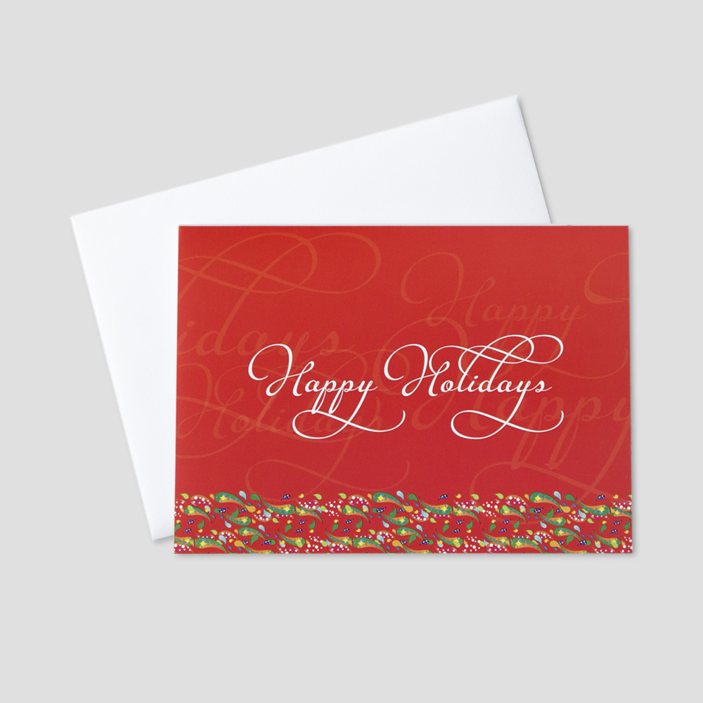 Holiday greeting card with a red background and overlapping happy holidays message bordered by colorful confetti