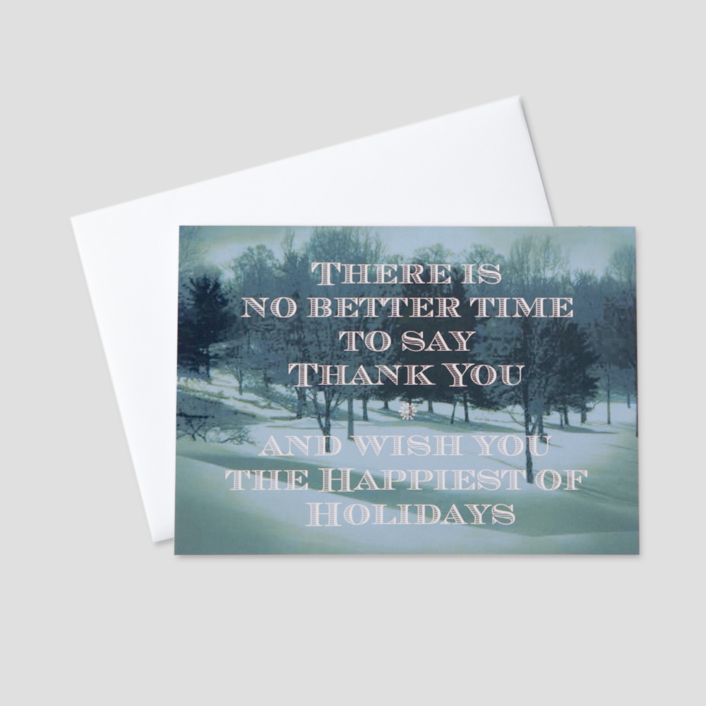 Corporate Holiday greeting card with an image of a winter scene on a blue background and profesisonal holiday message