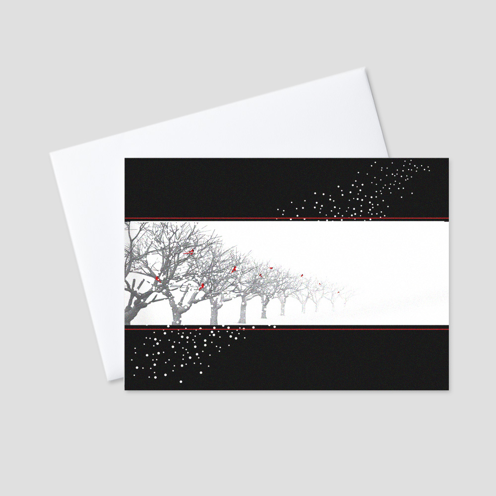 Professional Holiday greeting card with a black background, white snow details, winter trees, red birds, and a large white space to allow for company personalization