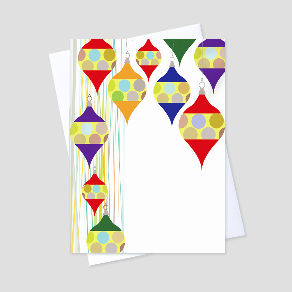 Professional Holiday greeting card with colorful graphic hanging ornaments and plenty of space to allow for a personal message and company personalization