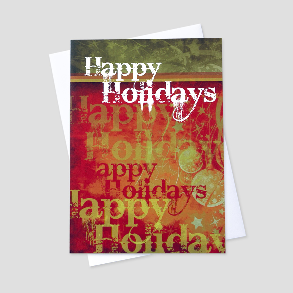 Business Holiday greeting card with a rustic red background and repeating happy holidays message