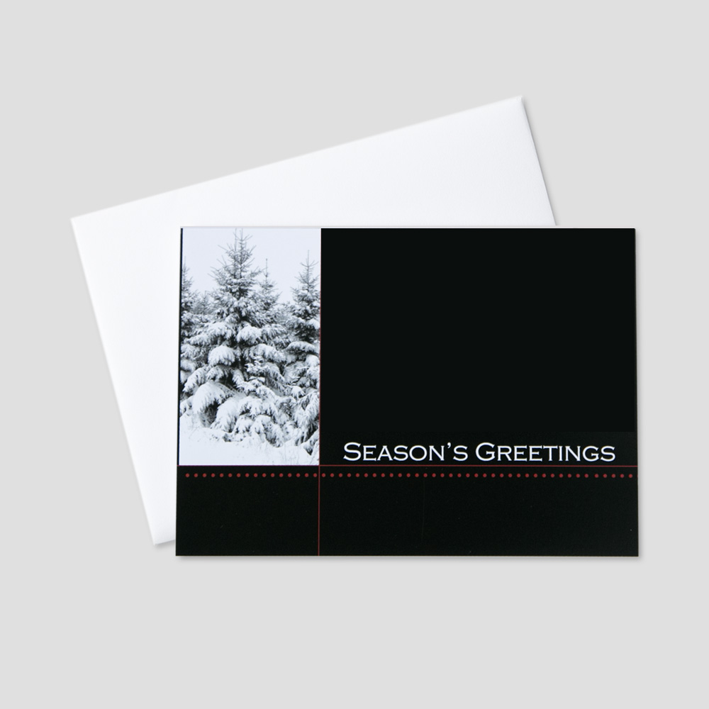 Professional Holiday greeting card with a simple black background, subtle red detail underlining a season's greetings message with a winter white fir tree