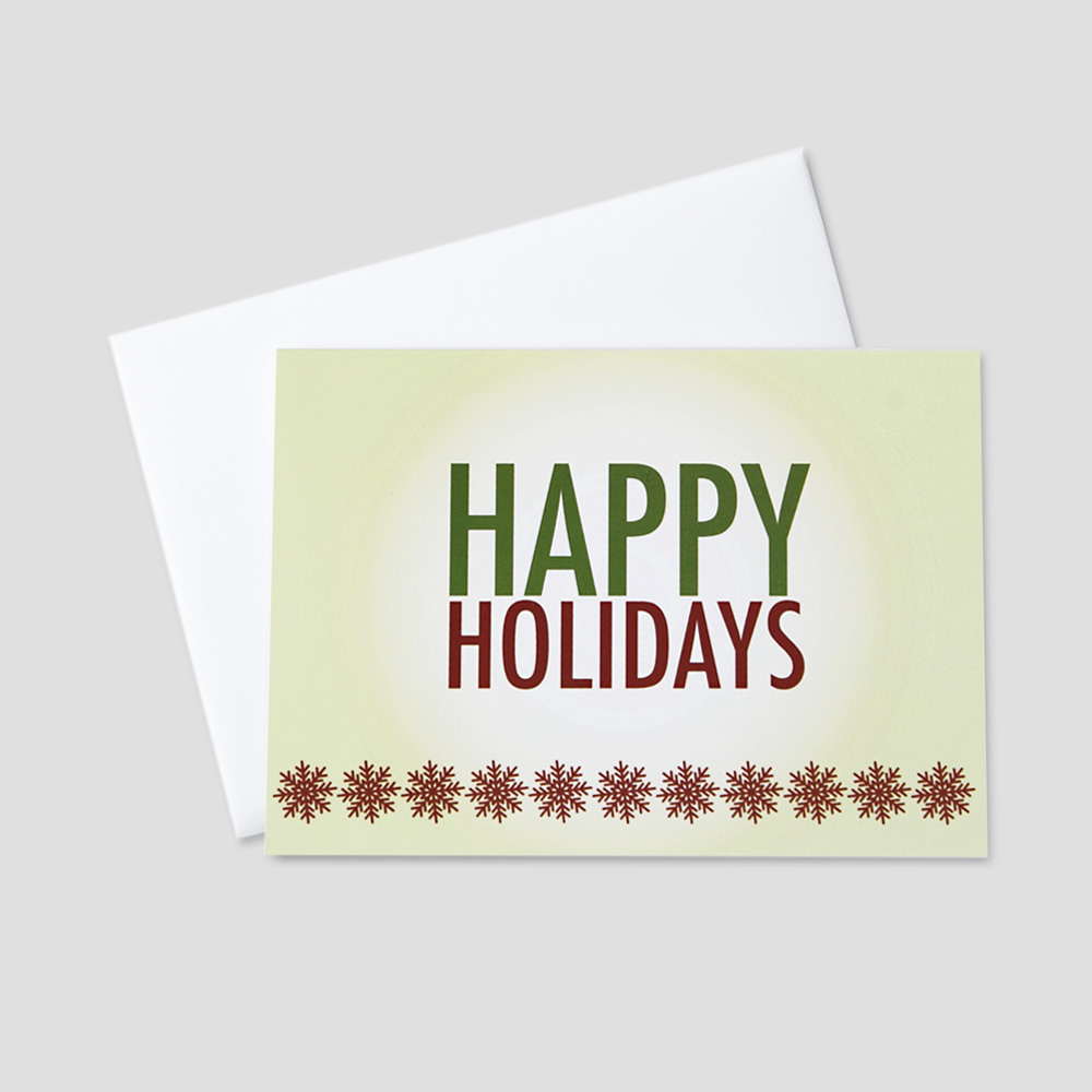 Business Holiday greeting card with red snowflakes and happy holidays message on a green background