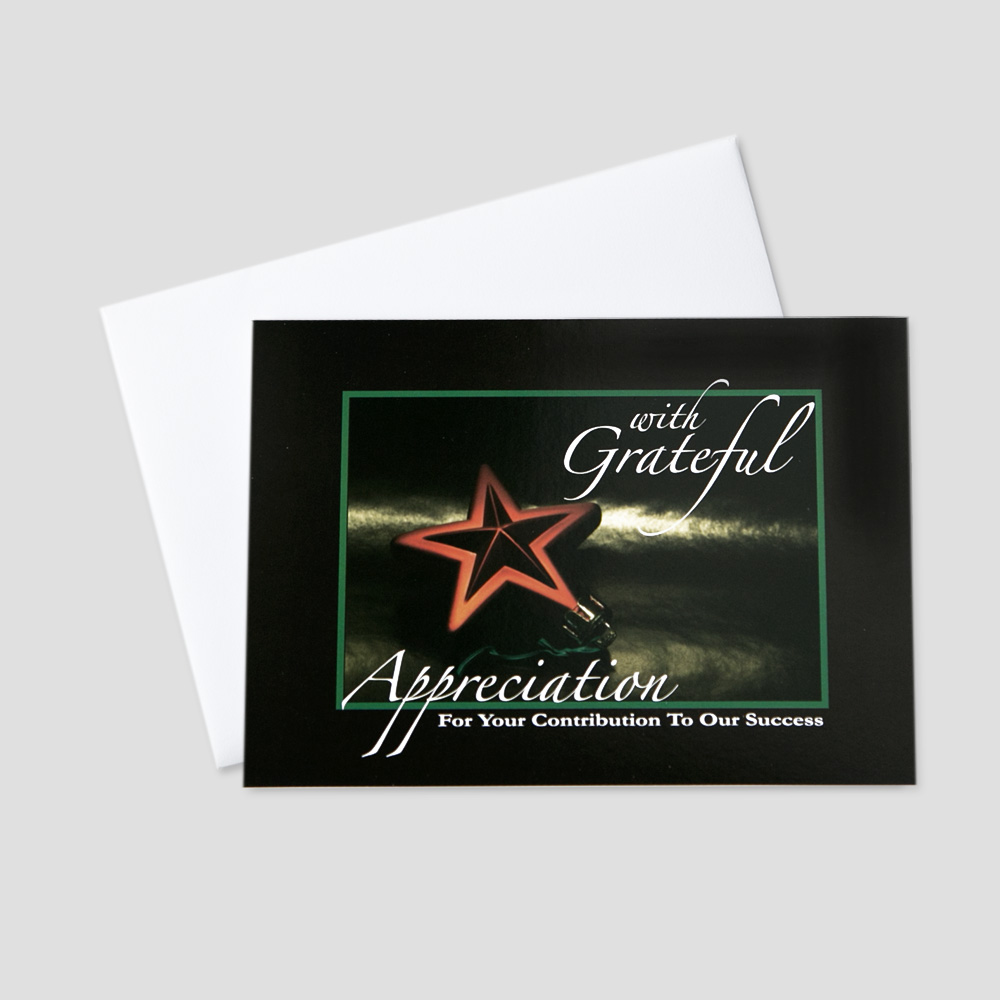 Professional Holiday greeting card with an image of a star for the top of a Christmas tree and an appreciation message
