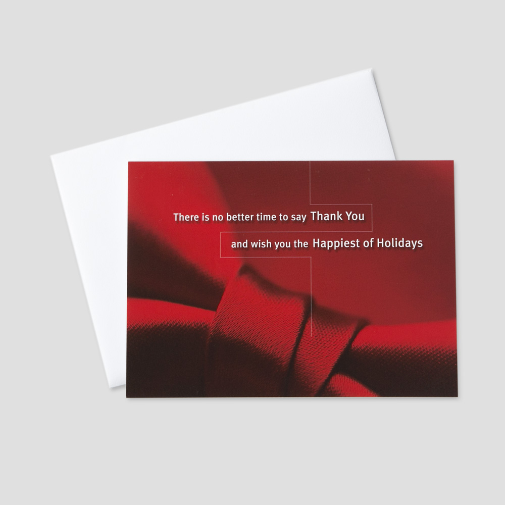 Business Holiday greeting card with an image of a red bow and red background and business appreciate message for the holidays