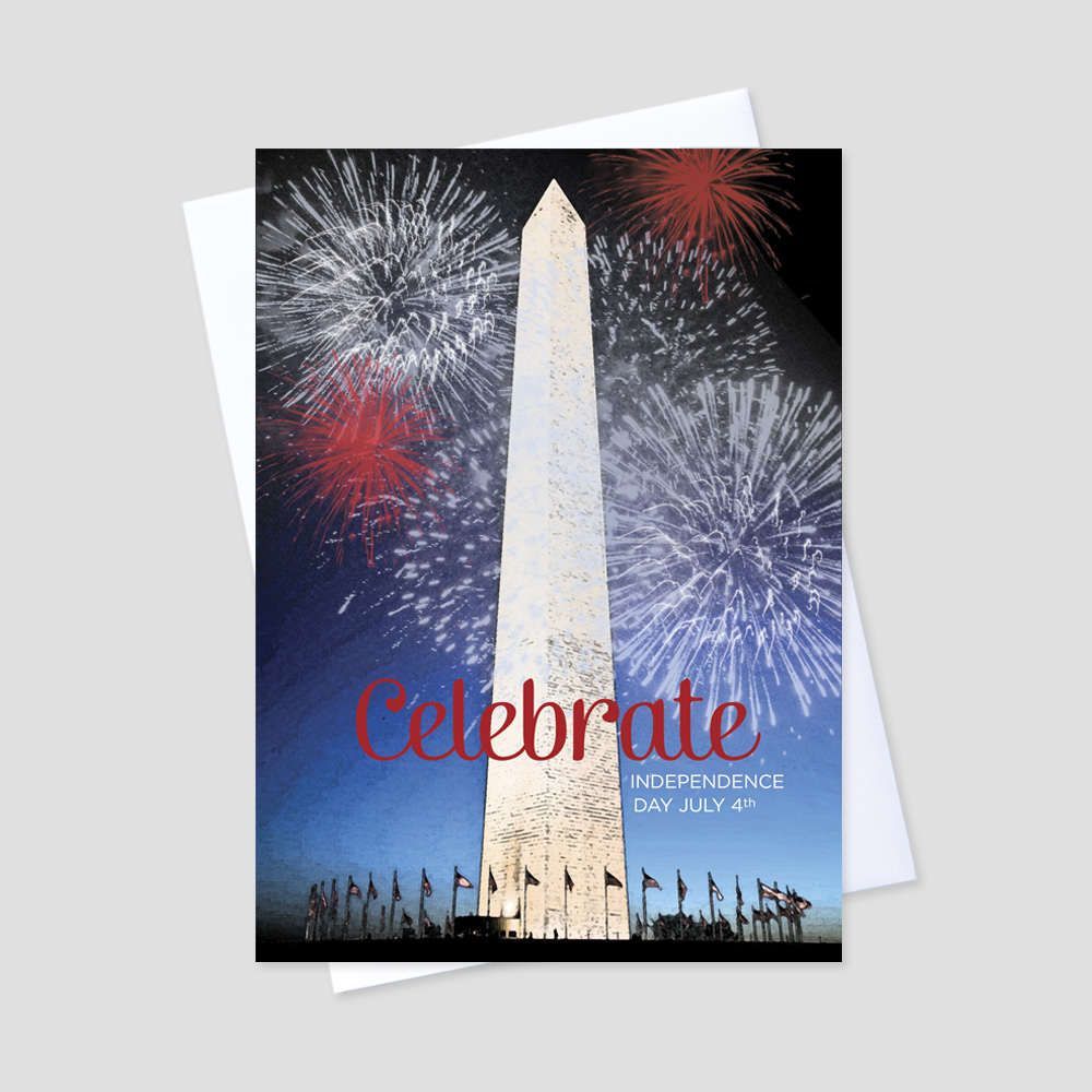 Business July Fourth greeting card with an image of the Washington Monument surrounded by fireworks