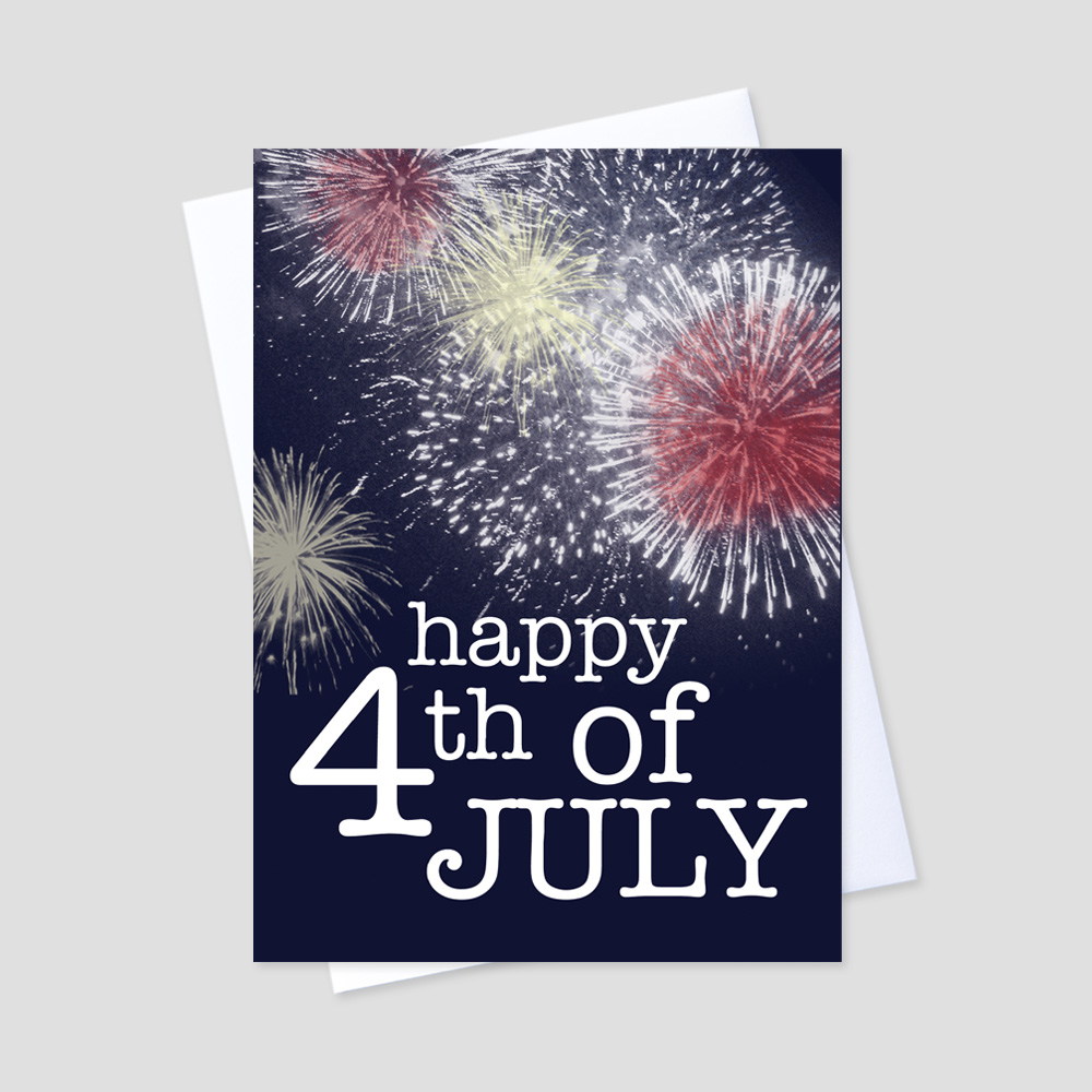 Company July Fourth greeting card with colorful fireworks on a navy blue background and 4th of July message