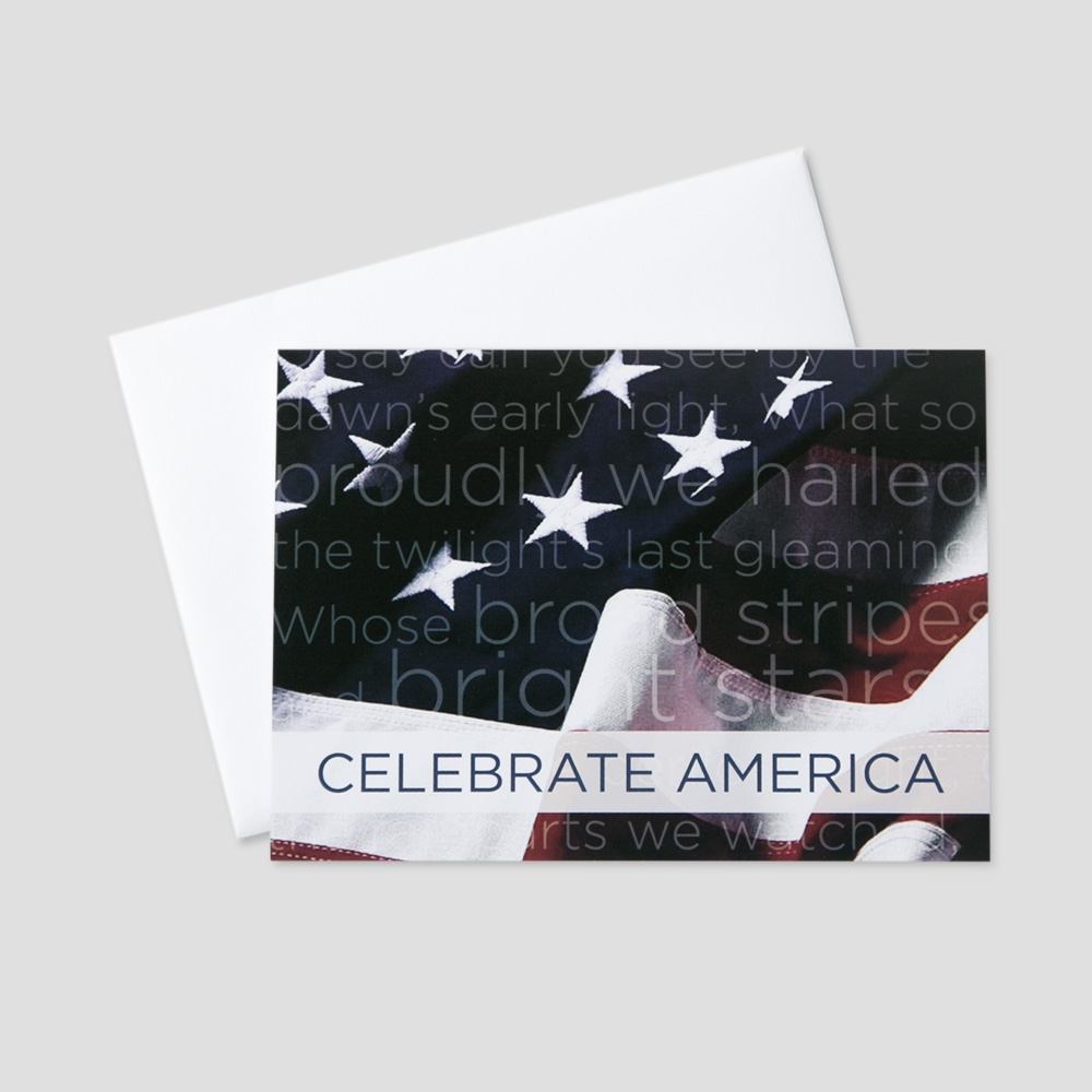 Employee July Fourth greeting card with an image of the American Flag and the National Anthem in the background
