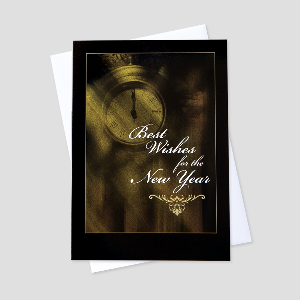 Business New Year greeting card with an old clock and New Year message surrounded by a black border