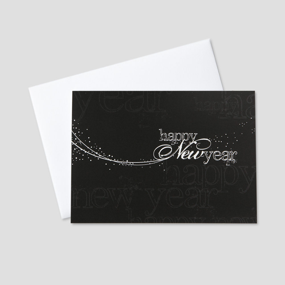 Professional New Year greeting card with a black background and white colored New Year message woth whisps of white designs