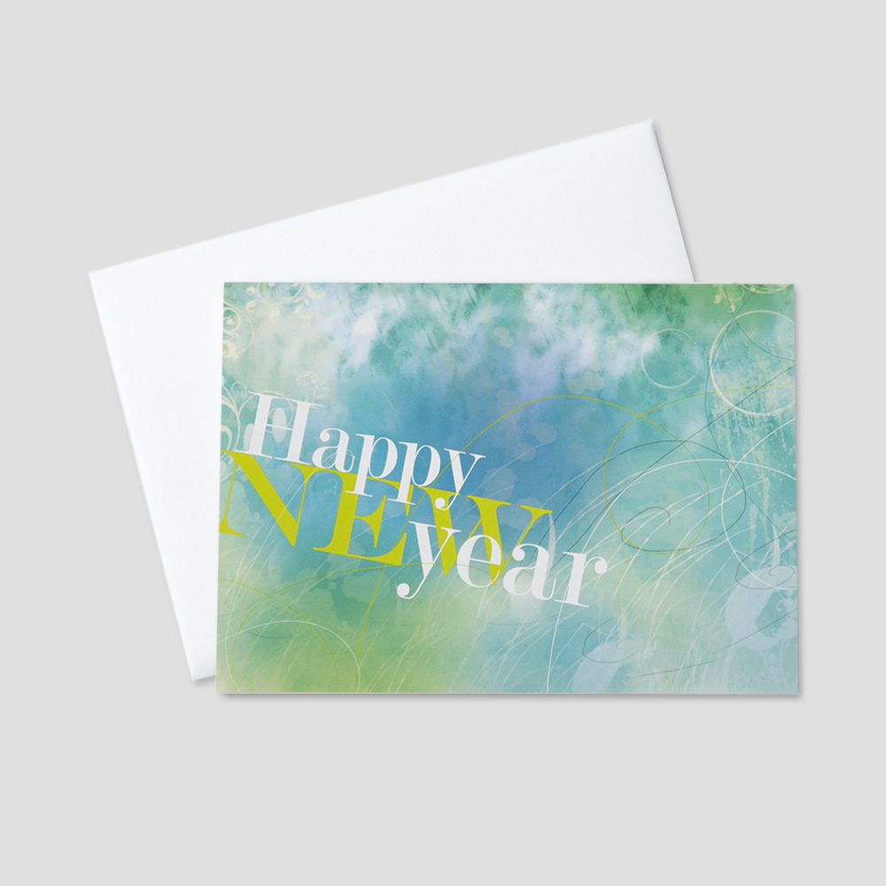 Corporate New Year greeting card with happy new year in blue and green designs with a sketched art background