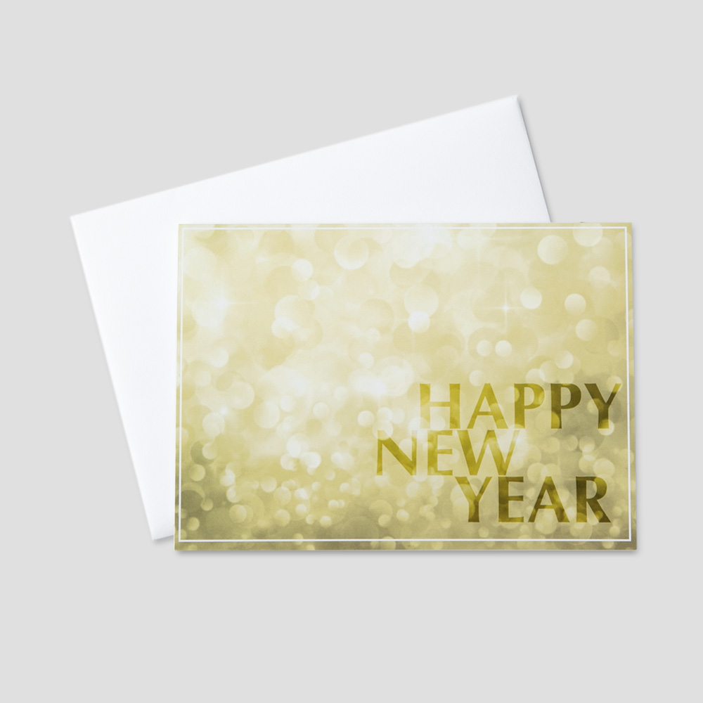 Customer New Year greeting card with a New Year message against a bright, golden light background